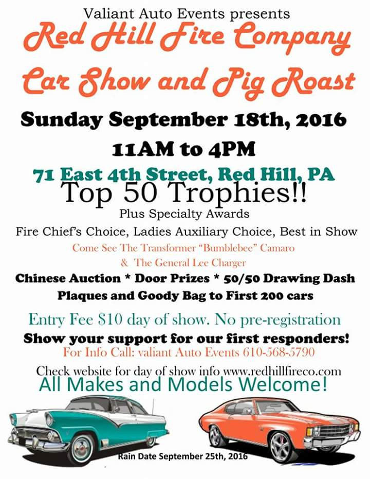 1st Annual Red Hill Fire Co. Car Show/Pig Roast
